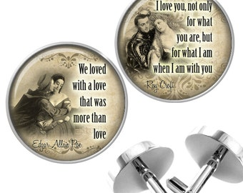 Mature Cufflinks with Love Quotes Grooms Wedding Anniversary Valentines