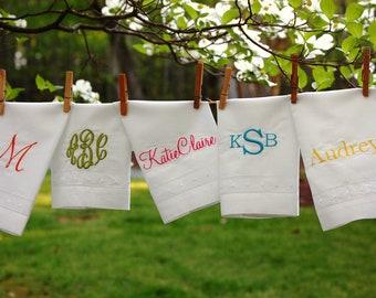 Monogrammed Swiss Dot Hemstitch Linen Hand Towel
