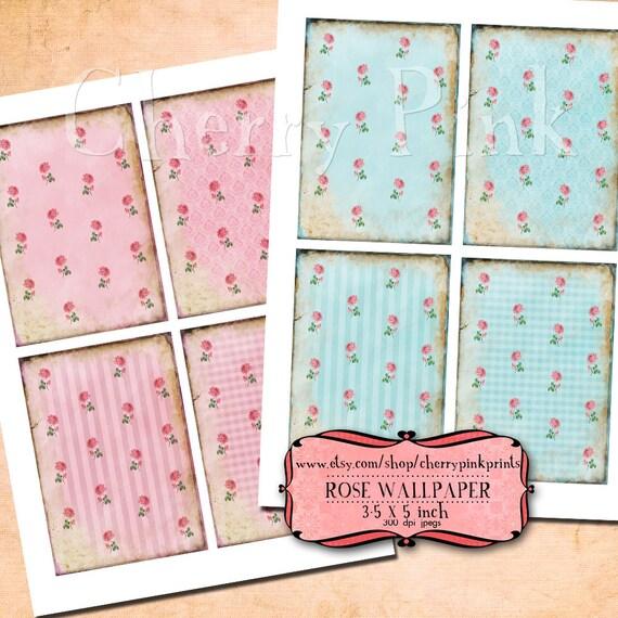 Supplies Rose Wallpaper  Digital Collage Sheet Download Scrapbooking Supplies for homecraft