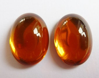 2 glass cabochons, 18x13mm, topas, oval