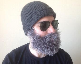 Handmade Crochet Beard hat, READY TO SHIP beard beanie, dark gray hat with greyish beard, beard, beard hat, men beard hat