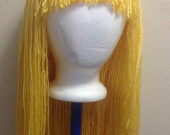 Handmade Crochet yarn Hair wig,women, baby, kids,golden yellow hair, wig, yarn hair, yarn wig, hat wig Halloween wig costume