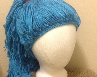 Handmade Crochet yarn Hat Hair wig,women, baby, kids,ligh blue hair, wig, yarn hair, yarn wig, hat wig costume