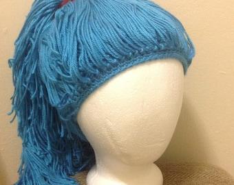 Handmade Crochet yarn Hat Hair wig,women, baby, kids,ligh blue hair, wig, yarn hair, yarn wig, hat wig Halloween wig costume