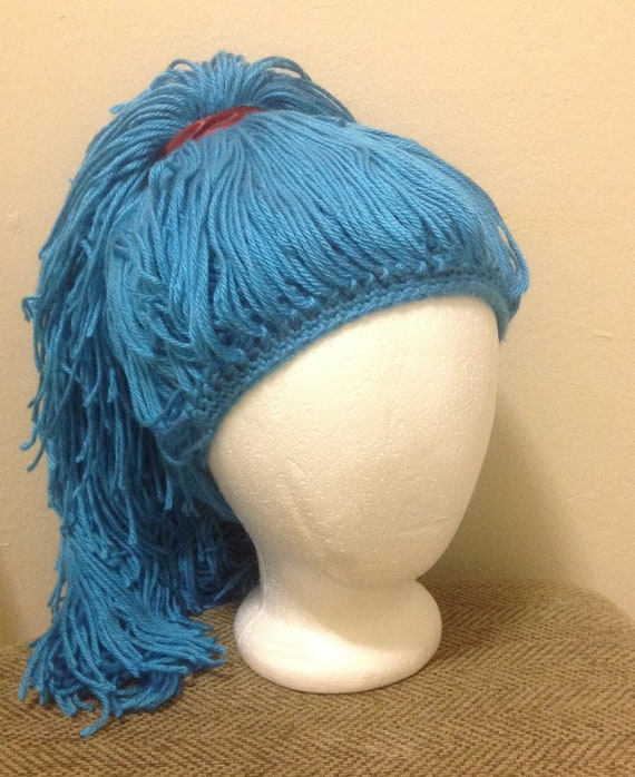 Handmade Crochet yarn Hat Hair wig,women, baby, kids,ligh blue hair ...