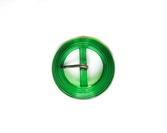 Round Ribbed Green Glass Belt Buckle - Czechoslovakia