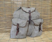 Vintage 1950's Military Very Washed Out Green Grey Canvas Backpack With Leather Straps