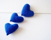 3 pcs blue crocheted amigurumi hearts / baby boy shower /party favor / soft stuffed heart
