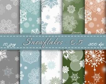 Snowflakes Digital Paper - Digital Scrapbooking Paper Pack, Printable Christmas Snowflakes