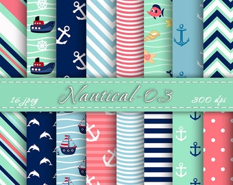 Nautical Scrapbooking Paper, Digital papers pack, Digital Backgrounds, Scrapbooking Paper, Printable paper, INSTANT DOWNLOAD