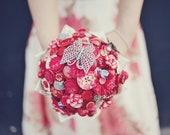 Red Bridal Button Bouquet - The Lotus Flower Bouquet