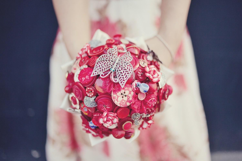 Red Bridal Button Bouquet The Lotus Flower Bouquet