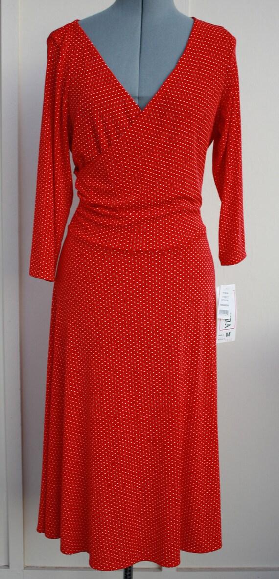 Long Sleeve Red and White Polka Dot Wrap Style Dress  Medium Original Tags Disco Era