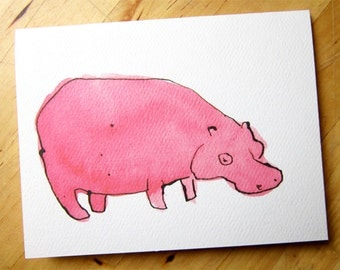 Pink Hippo - Greeting Card - don't mess with hippos