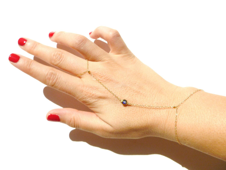 Etsy Chain Bracelet Chain Bracelet Ring Hand