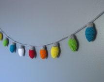 Crochet christmas lights- string of lights- christmas garland FREE US SHIPPING