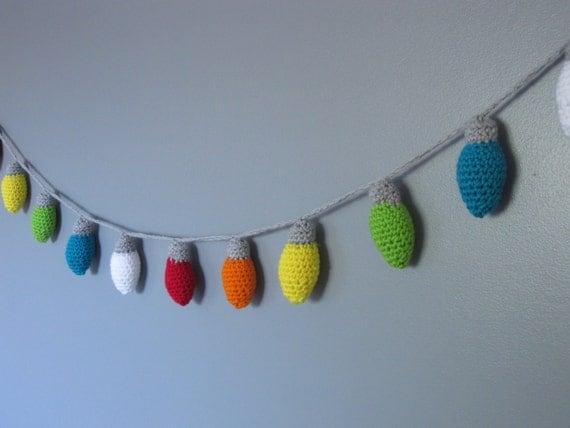 String Lights Garland : Crochet christmas lights string of lights christmas garland