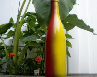 Coloful Yellow and Red Painted Bottle Vase