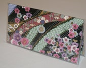 """Fabric Checkbook Cover WIth Vinyl Covering Made with Japanese Kimono Print   """"Chririmen Emboss - Flowing Water""""  Black"""