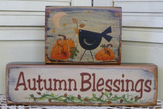 Thanksgiving Autumn Blessings Crow Pumpkins Moon Hand Painted Wood Primitive