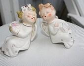 Vintage Kissing Angels - Cherubs - Pair - Made in Japan - Shelf Sitters - Commodore - Napco