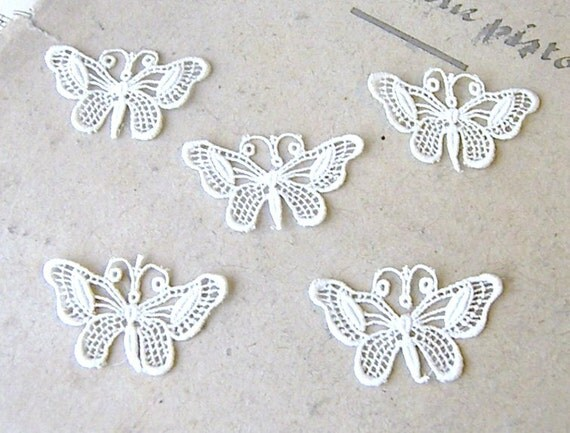 Five Little Butterflies, Lace Butterflies for Sewing, Cream Lace Butterflies,