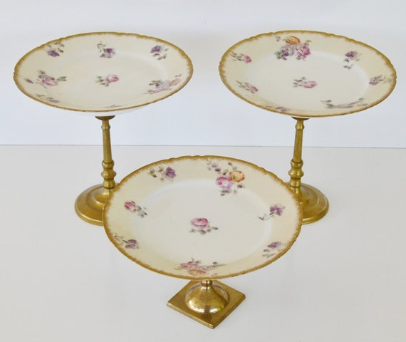 RESERVED Custom Listing for C a i t l i n  Antique Limoges Dessert Plates Dessert Stands Limoges Cupcake Stands