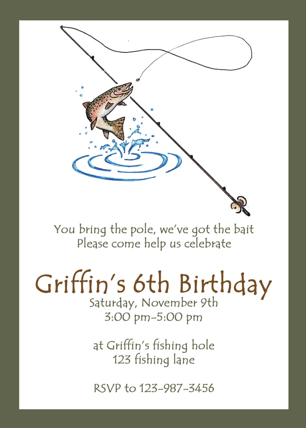 Printable fishing party invitation custom fishing invitation for Fishing wedding invitations