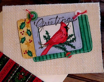 Red Cardinal Christmas Card, Burlap Fabric Blank Greeting Note Card, Handmade Holiday Stationery itsyourcountry