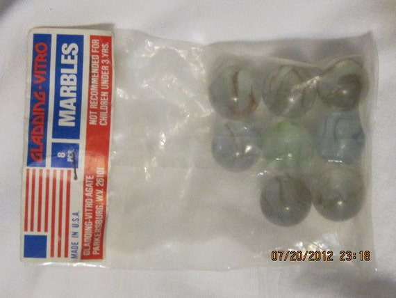 Vintage Gladding-Vitro Marbles In Bag 8 Pcs.Made in USA