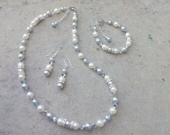 Bridesmaid Winter Wedding Jewelry Set White & Silver Swarovski Crystals and Pearls