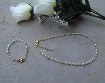 Wedding Jewelry Flower Girl White or Ivory Swarovski Pearls and Crystals Bridal Jewelry Set