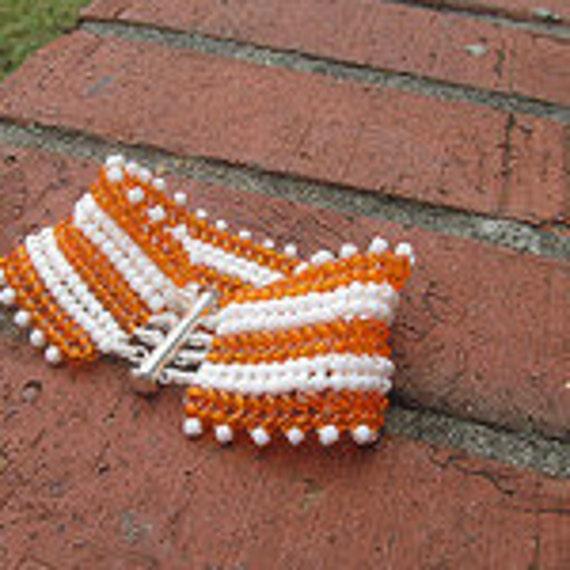 Herringbone Stitched Bracelet Orange White TN Vols Free Shipping