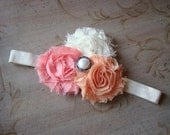 Peach and ivory shabby chic flower headband, vintage pearl, photo prop, newborn, baby, toddler, childrens