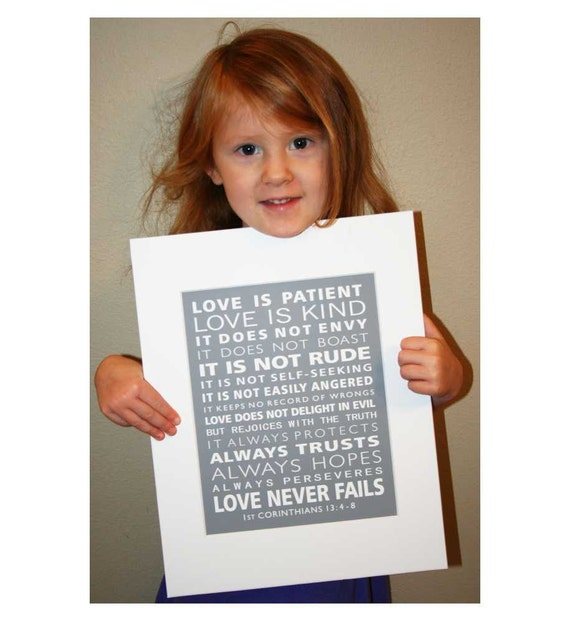 1st Corinthians 13 Love Is Patient Subway Style Scripture Art Christian Word Art Print