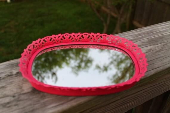 Vintage/Antique Mini Vanity Tray Upcycled Pink filigree Hollywood regency ornate