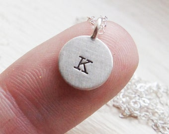 Initial Necklace Personalized Letter Name Monogram Hand Stamped Dainty Everyday Simple Sterling Silver JewelryMothers Day