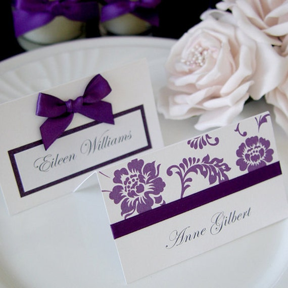 Items similar to purple wedding reception table decor for Wedding place name cards