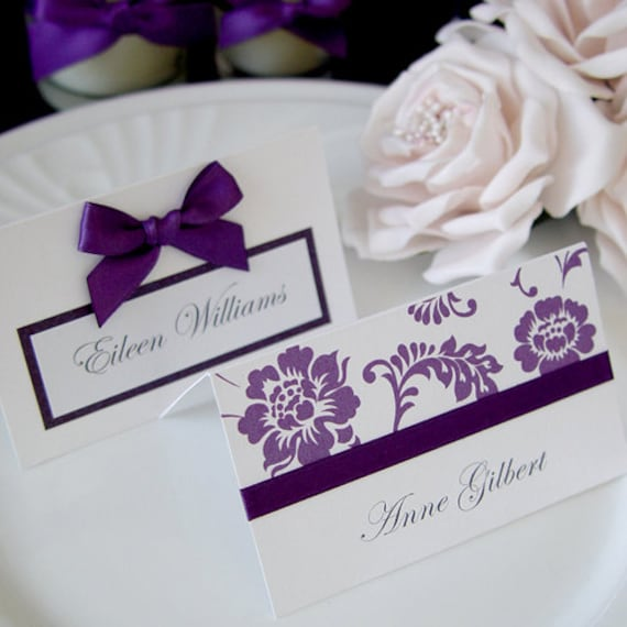 Wedding Table Place Card Ideas: Items Similar To Purple Wedding Reception Table Decor