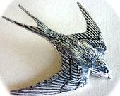 Swallow Antiqued Pewter Pin