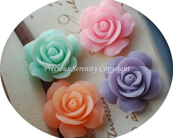 8pcs 30mm Resin Flowers Cabochons in 4 colors Charm Decorated Crafts CODE RS105