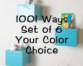 Wall Storage Organizer Box Shelf, Wall Cubes - Set of 6 Boxes - Large - Your Color Choice - 1001 Ways