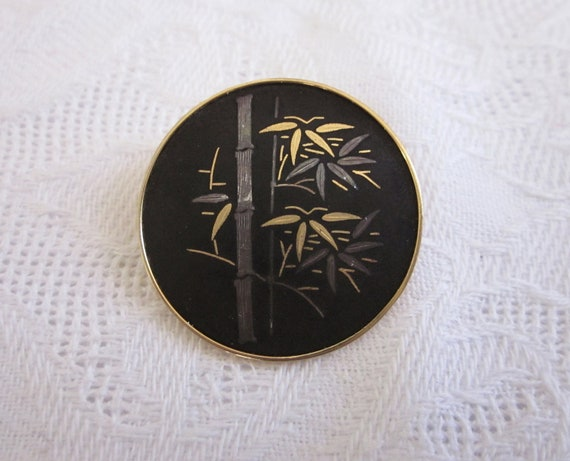 VIntage  Lucky BAMBOO DAMASCENE Pin Brooch AMITA Japan Japanese Asian Gold & Silver Inlay