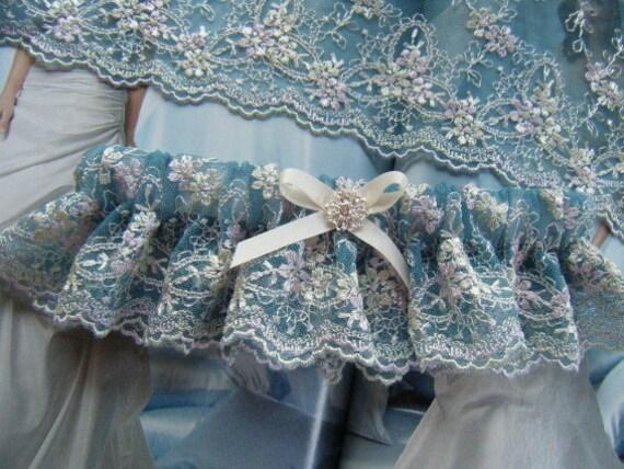 Teal Blue Soft Lace Garter