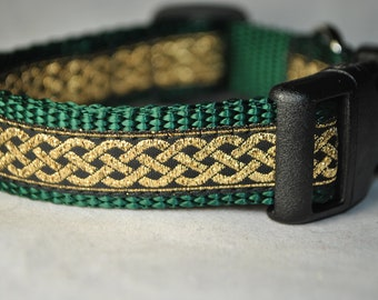 "Celtic Knot Green and Gold 3/4"" Adjustable Dog Collar"