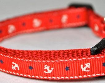 "Anchors and Stars 3/8"" Adjustable Dog Collar"