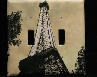 Double Switchplate Cover - The Eiffel Tower at Dusk