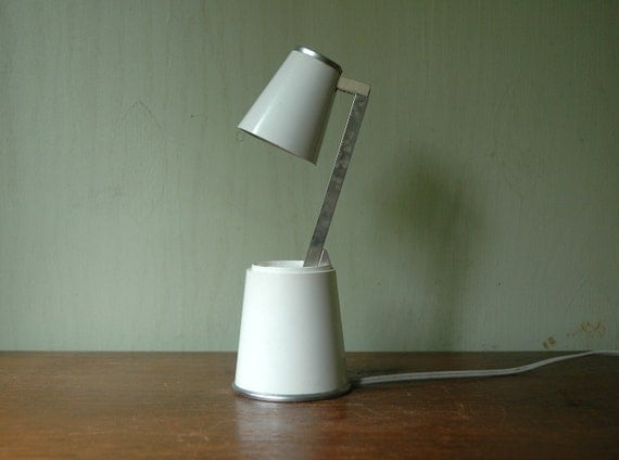"Mid Century Modern Koch Creations ""Lampette"" Telescoping Lamp - Space Age White Folding Desk Lamp"
