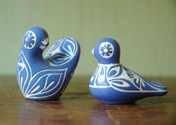 Mid Century Modern Ceramic Bird Pair Designed By Pablo Zabal - Danish Modern Modernist Animal Figurines