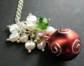 Red Christmas Necklace. Christmas Ornament Necklace with Crystal and Pearl Cluster. Handmade Christmas Jewelry.